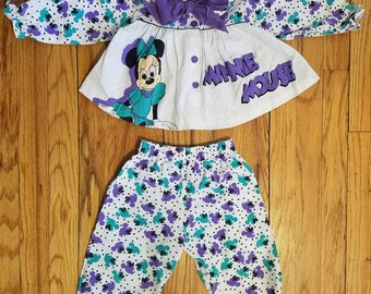 Vintage disney minnie mouse girls outfit - long sleeve collared shirt and parachute style pants - sz 24mo