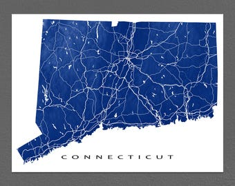 Connecticut Map, Connecticut Art Print, USA State Outline, CT Map Poster