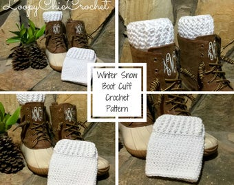 Winter Snow Boot Cuff Crochet Pattern, Boot Cuff Crochet Pattern, Leg Warmer Crochet Pattern, Boot Sock Pattern