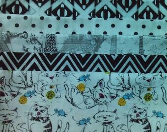 100% Cotton Fat Quarter Bundle -Black and White Modern Prints