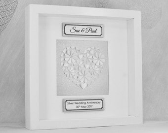 Silver wedding anniversary gift, 25th wedding anniversary, custom anniversary gift, personalised anniversary gift, silver wedding