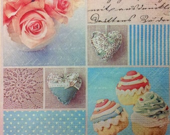Pink paper hearts, cup cake towel