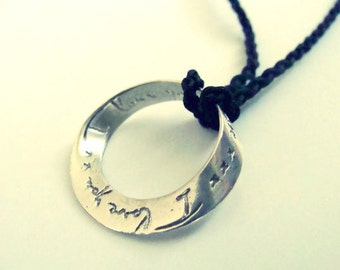 I love you more necklace - Sterling silver I love you more necklace - metalwork sterling silver Valentine necklace