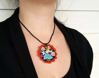 Free Shipping Crochet Circle Necklace, Modern Felt Necklace, Unique Design Necklace, Free Form Necklace, Under 25, Orange