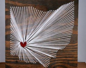 Ohio String Art- State String Art- Ohio Signs- Nail String Art- String Art Sign- State Sign- Wedding String Art- Custom String Art
