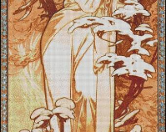WINTER Alphonse Mucha cross stitch pattern No.802