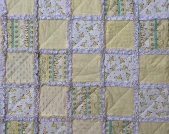 Baby Rag Quilt, Ducklings! Handmade Yellow & White blanket, duck theme, baby shower gift, girl blanket, boy blanket, gender neutral, nursery