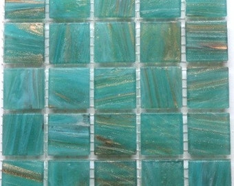 "20mm (3/4"") Aqua and Gold Semi Translucent Glass Mosaic Tiles//Mosaic Supplies//"