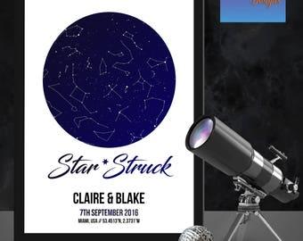 Personalised 'Star struck' star map/constellation night sky map - Fantastic Birthday/ XMAS /wedding/valentine's gift -  Shabby Chic Bespoke