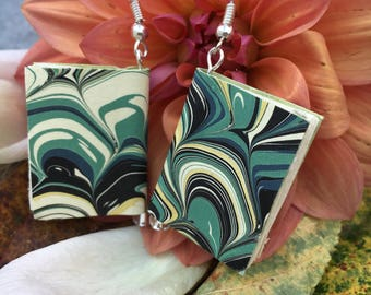 Book Earrings with Hand-marbled Paper (turquoise wave pattern)