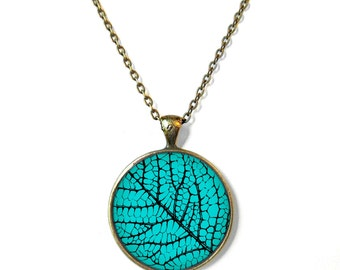 Turquoise and Black Leaf Texture Necklace - Nature Lover's Forest Jewelry - Boho and Hippie Jewelry