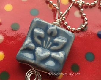 Pendant Stoneware Ceramic Wire Wrapped Sky Blue Lotus Flower Ready to Ship Great Stocking Stuffer PNT0021