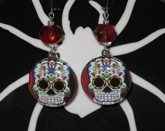 Day of the Dead Sugar Skull glass dome earrings with red beads
