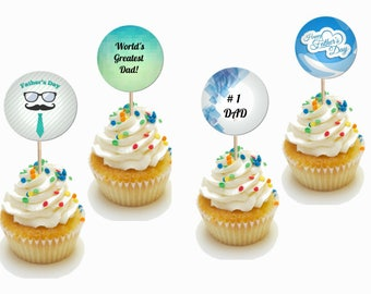 24 Pieces Father's Day Cupcake Toppers Picks for Birthday Special Occasion Decorations DIY Party Supplies
