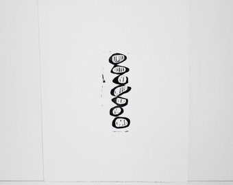 Linocut Mid Century Modern Art Poster 11x14 Balancing Circles with Lines