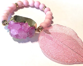 Boho bracelet , hippie bracelet , boho jewelry , stretch bracelet , druzy bracelet , bisutería
