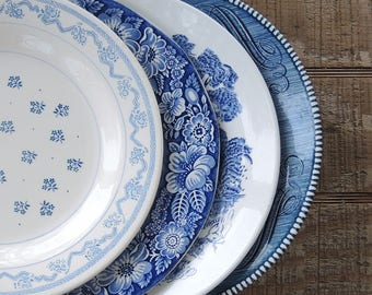 Mismatched Blue and White Dinner Plates for Weddings Set of 4 Mix and Match Blue Transferware Plates, Rustic Replacement China