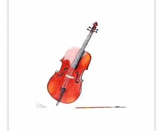 Watercolor painting print - Cello