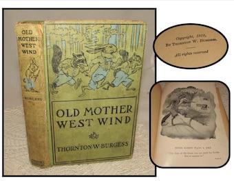 Vintage Childrens Hardcover Book, Old Mother West Wind by Thornton W Burgess, 1910, animals, Grosset & Dunlap