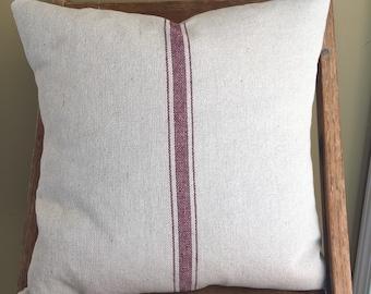 Grain Sack / Ticking Pillow Cover Red Stripe