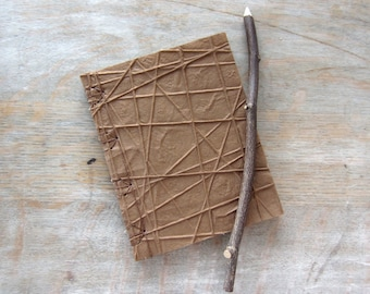 Softcover Journal or Sketchbook, 6x4.75 inches, Brown Strings, unlined pages, Ready to Ship