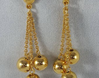 Avon 1990 Gold Cluster Dangle Earrings w/ surgical steel posts