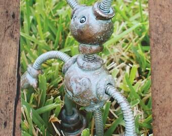 Robot in the Grass Pantia Garden Art Print Postcard