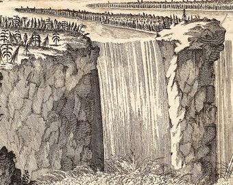 The Fall of Niagara, Vintage Engraving, 18th century