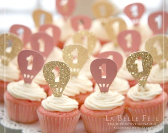 UP UP + AWAY Hot Air Balloon glitter cupcake picks