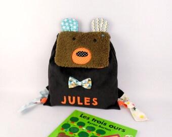 Sac à dos enfant personnalisé prénom Jules ours brun sac première rentrée maternelle crèche sac à dos bébé personnalisable cadeau naissance