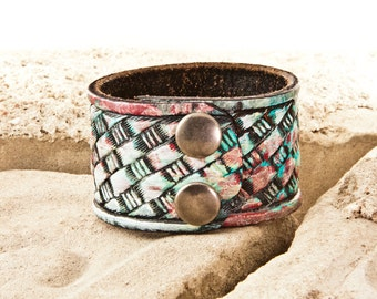 Sale  Colorful Bracelet - Bright Colors - Cuff Wrist Band Handmade From a Vintage Leather Belt
