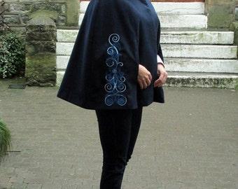 Cape - Blue cape - embroidery cape - business style cape - size 8-10