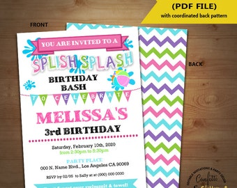 Splish Splash party birthday invitation girl pink teal summer pool party Instant Download YOU EDIT TEXT and print yourself invite 5479