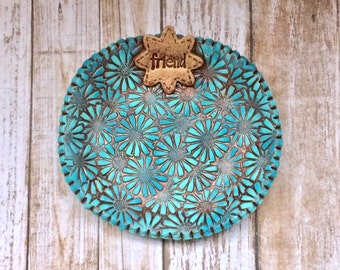 Friend Gift Rustic Daisies Clay Ring Dish Jewelry Holder Aqua Turquoise Copper Patina Finish Friendship Present For Her Birthday Christmas