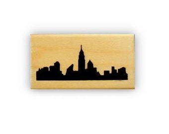 New York City Skyline silhouette mounted rubber stamp, NYC, travel journal stamp, skyscrapers, city buildings, Sweet Grass Stamps No.15