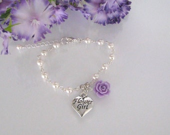 Violet Flower Girl Bracelet-Pearl Flower Girl Bracelet-Violet Flower Girl Jewelry-Flower Girl Jewelry-Girls Pearl Bracelet-Junior Bridesmaid