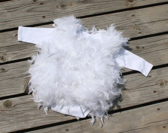 READY to SHIP - Feathered Romper - Baby Costume - Halloween Costume Romper - Feathered Costume Suite Romper - By JoJo's Bootique