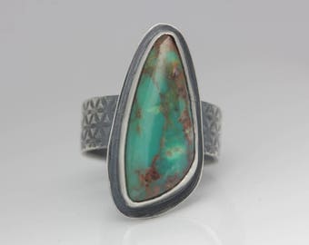 Turquoise Ring, Sterling Silver Ring, Statement Ring, Mother's Day Gift, Gift for Her, Le Chien Noir, Size 6.5