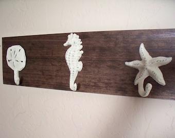 Beach wall hooks on wood, beach themed coat rack, bathroom towel hooks, housewarming gift, rustic wood boards