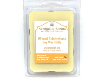 Wizard Celebration Soy Wax Melts, Butterscotch Cookie Dough Wax Tarts, Book Lover Housewarming Gift, Geekery, Literary Candle Melts