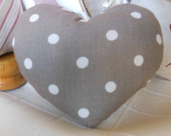 Set of 2 hearts fabric and linen printed with white polka dots