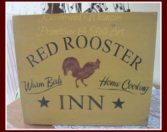 Red Rooster Inn wood sign. farmhouse sign, wooden sign, farmhouse, chicken, primitive sign, primitive chicken, farmhouse chicken