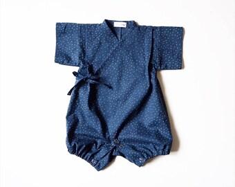 Baby kimono, rompers jinbei, NUIT, fabric by Atelierbrunette, japanese baby pyjama
