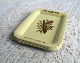 May Sale Mid Century Modern Metal Yellow Coasters / Vintage Tin Tip Trays