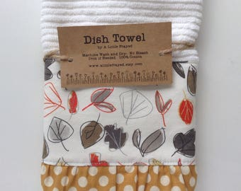 Dish Towel / Kitchen Bar Mop Towel / Autumn Fall Leaves Kitchen Towel with Ruffle
