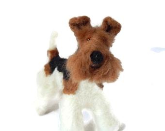 MINIATURE Wire Fox Terrier sculpture -  Custom pet portrait