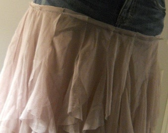 Mauve tulle jean skirt ruffled chiffon dusty rose lilac lace French bohemian Renaissance Denim Couture Made to Order