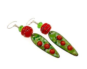 Green Orange Earrings, Enamel Earrings, Lampwork Earrings, Dangle Earrings, Artisan Long Earrings, Artisan Lampwork Jewelry, Gift Ideas