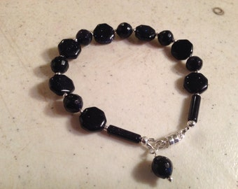 Navy Blue Bracelet - Sterling Silver Jewelry - Goldstone Gemstone Jewellery - Fashion - Beaded