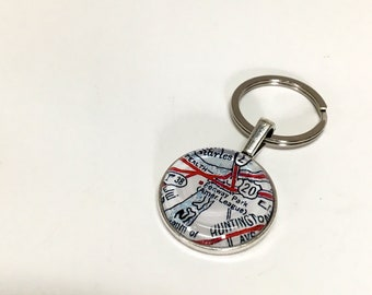 NEW Vintage Map Keychain fob- Fenway - In Stock ready to ship - guy gift, custom gift - baseball souvenir - Boston